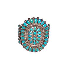 Older Native American Indian Turquoise Cluster Cuff Bracelet