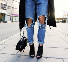 Love the peep toe bootie and ripped jeans/pants as individual trends.