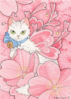 Beautiful Sakura kitty fairy, art by Brenda Saydak. It makes me think of Valentines Day and spring. Gatos Cats, All About Cats, Fantasy, Custom Greeting Cards, Crazy Cats, Love Art, Cat Art, Note Cards, Cats And Kittens