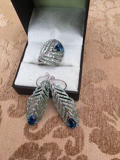 Peridot Unique Peacock Feather Pierced Dangle Earrings & Ring Sterling Silver    eBay