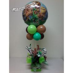 An air filled arrangement perfect for buffet or cake table. No helium. This is a 3rd birthday but age can be changed. Also initial should match the birthday boy or girl's name.    For local area delivery orders only. Please state name or initial in comments at checkout.    This style of arrangement can be made in any theme. Give me a call or message. $39.50 #childrensbirthayballoons #gooddinosaur #numberballoons #letterballoons #green #brown #topairy