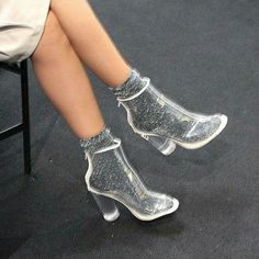 Glitter socks & clear ankle boots Clear Shoes, Clear Ankle Boots, Disco Shoes, Prom Shoes, Shoes Heels, Louboutin Shoes, Zapatos Shoes, Heels With Socks, Shoe Boots