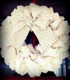 White Burlap Wreath with Striped Bow by SunnyRecess on Etsy.
