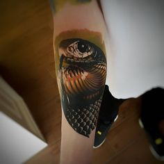 3d snake tattoo by @caspertattoos