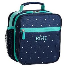 Gear-Up Navy Pin Dot Tote Lunch Bag