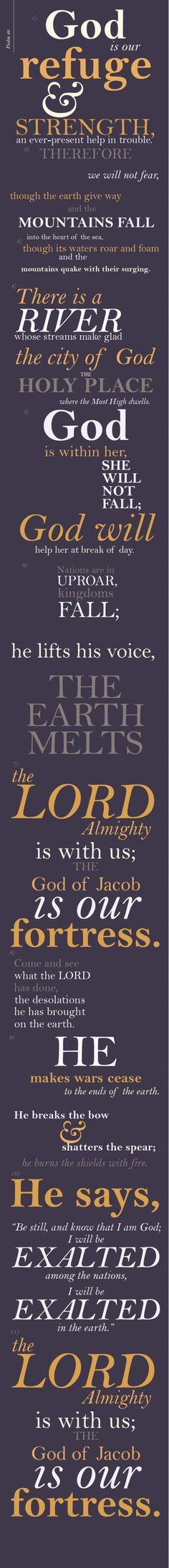 Salmo 46:1 - 3 Dios es nuestro amparo y fortaleza, nuestro pronto auxilio en las tribulaciones. Por tanto, no temeremos, aunque la tierra sea removida, y se traspasen los montes al corazón del mar; aunque bramen los montes a causa de su braveza.