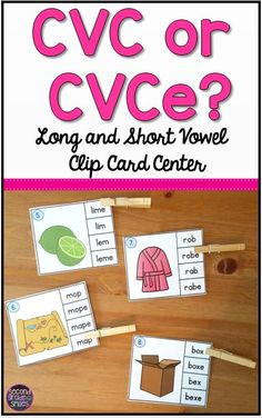 If your 1st or 2nd grade students need practice distinguishing between long and short vowel sounds, this clip card activity will make a great literacy center, word work center, or early finisher activity. It includes both short vowel words spelled CVC and long vowel words spelled CVCe.