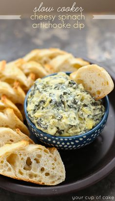 Slow Cooker Cheesy Spinach Artichoke Dip for parties, football watching, and Netflix binging Slow Cooker Dips, Slow Cooker Recipes, Crockpot Recipes, Yummy Recipes, Healthy Recipes, Best Appetizers, Appetizer Recipes, Party Appetizers, Holiday Appetizers