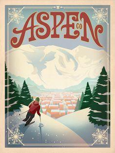 #Aspen, Colorado vintage #ski poster http://www.familyskitrips.com/rockies/co/aspen_snowmass.htm