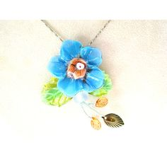 30% OFF SALE Cornflower Blue Lampwork Flower Cluster Necklace, Green... ($29) ❤ liked on Polyvore featuring jewelry, necklaces, sterling silver necklace, pearl-cluster necklaces, glass jewelry, sterling silver chain necklace and glass flower necklace