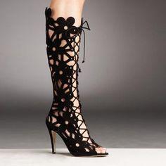 Manolo Blahnik Lace Up Cutout Boot . Extreme materials about female domination. Manolo Blahnik, High Heel Pumps, Pumps Heels, Love Fashion, Fashion Shoes, Cutout Boots, Dream Shoes, Me Too Shoes, Shoe Boots