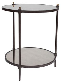 Nina Mirrored Side Table, Bronze/Gold - Side Tables - Living Room - Furniture | One Kings Lane