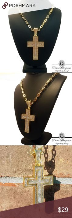 "14k Gold Plated Iced out 30"" Cross Bling Necklace PrimoBling.com carries a very wide array of high quality Watches, Grillz, Necklaces, Pendants, Bracelets, Earrings and much more! Our products can be seen all across the globe! Serving a customer base from Hip Hop Artists to Actors and Everyday Hustlers! We bring you High Quality Bling at a minimal Price! Shop and see why our customers Keep Coming Back.  14k Gold Plated Lab Simulated Stones Large 3"" Pendant 30"" Bullet Chain PrimoBling.com…"