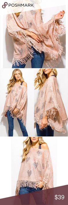 """❤️Valentine❤️Knit Poncho Blush Silver Armholes SML ❤️Be my Valentine❤️crochet loose knit fringe trim boho poncho with armholes. Beautiful blush background adorned with subtle silver hearts. One of a kind & so so adorable. Marked S/M & M/L but one size fits most. Length 31"""" Accessories Scarves & Wraps"""