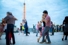 Ballroom dancers at the Trocadero across the Seine from the Eiffel Tower. Credit Chris Carmichael for The New York Times