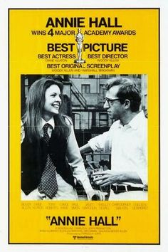 Official theatrical movie poster ( of for Annie Hall Directed by Woody Allen. Annie Hall Movie, Romantic Comedy Movies, Romance Movies, Diane Keaton Woody Allen, Dianne Keaton, Martin Eden, Academy Awards Best Picture, Zone Telechargement, Popcorn