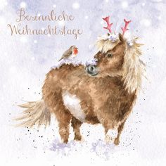 Artistic Christmas Card One Horse Open Sleigh - Horse with Robin - Wrendale Designs - Foil Finish Watercolor Christmas Cards, Christmas Drawing, Christmas Paintings, Christmas Horses, Christmas Animals, Christmas Scenes, Christmas Art, Vintage Christmas, Magnolia Pearl