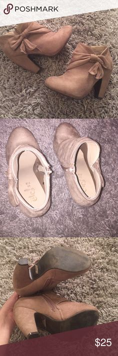 Booties Cream healed suede booties in great condition only worn a few times very comfy and cute Rue 21 Shoes Ankle Boots & Booties