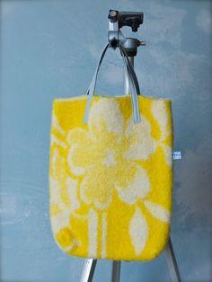 felted Bag of vintage woolen blanket with leather door pepavana, €55,00