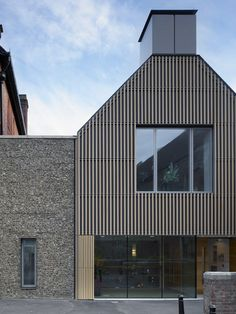Brighton College by Allies and Morrison – Educational Architecture Timber Architecture, Modern Architecture Design, Education Architecture, Facade Design, Stone Cladding, Exterior Cladding, Timber Cladding, Small Buildings, Metal Buildings