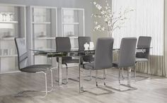 Euro Style Cinzia Side Chair (Set of 2) in Gray/Chrome
