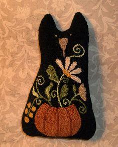 Needle Punch PATTERN Black Cat Pumpkin Fall by thetalkingcrow