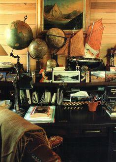 Proper desk of an adventurer - world globe Indiana Jones, Interior Photo, Interior Design, World Globes, Map Globe, We Are The World, British Colonial, My New Room, Archaeology