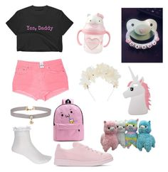 """""""DDlg pink"""" by jiselavelez on Polyvore featuring River Island, Carmar, adidas Originals, Hello Kitty, Lizzie Fortunato, WithChic, Miss Selfridge, Pink and mdlg"""