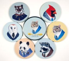 Animals in suits coasters