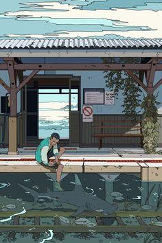 "cassandrajp: ""Kohei and the High Tide Tracks! … – … cassandrajp: ""Kohei and the High Tide Tracks! … – cassandrajp: ""Kohei and the High Tide Tracks! … – … cassandrajp: ""Kohei and the High Tide Tracks! Aesthetic Art, Aesthetic Anime, Aesthetic Painting, Cassandra Jean, High Tide, Pretty Art, Japanese Art, Beautiful Gardens, Framed Art Prints"