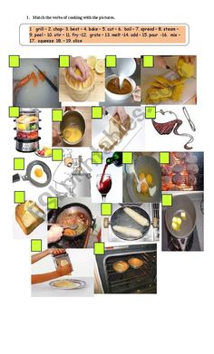 verbs of cooking and recipes worksheet