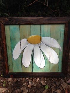 Hand Painted Daisy on Reclaimed Pallet