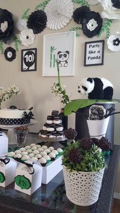 Panda Themed Party, Panda Birthday Party, Panda Party, 1st Boy Birthday, Boy Birthday Parties, Baby Birthday, Baby Shower Parties, Panda Decorations, Diy Birthday Decorations