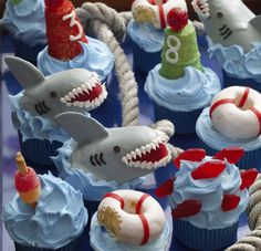 Shark Attack-blog feature- primarily made of Twinkies. Their scary teeth are made of frosting and their fins are chocolate wafers. You can find the complete jaw-dropping recipe starting on page 81 of HELLO, CUPCAKE!