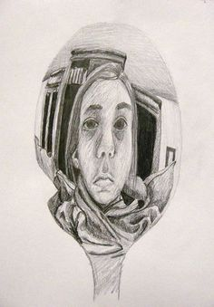 Spoon Self Reflection Pencil Drawing~Escher Inspired Reflection Self Portraits