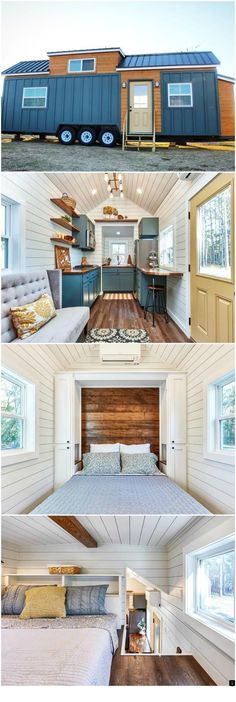 Cypress is a fantastic tiny house by Mustard Seed Tiny Homes. The tiny house features a main floor m&; Cypress is a fantastic tiny house by Mustard Seed Tiny Homes. The tiny house features a main floor m&; Tyni House, Tiny House Living, Tiny House Office, House Wall, Tiny House Family, Loft Office, Living Room, Small Living, Tiny House Movement