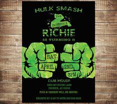 Incredible Hulk Birthday Invitation  Boys by PaperPrinceParties