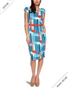 Eva Franco Women's Annis Cap-Sleeve Printed Dress with Pockets