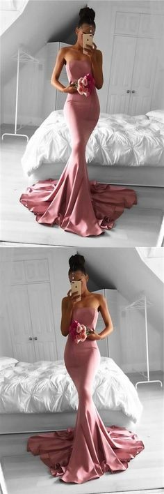 Strapless evening dress, simple prom dress, mermaid prom dresses,long formal gowns, pink mermaid, pink prom dresses #pinkpromdresses #StraplessEveningDress #sleevelesspromdresses #mermaidpromdresses #pinkmermaid #prom #dresses #longpromdress #promdress #eveningdress #promdresses #partydresses #2018promdresses #Prettylady