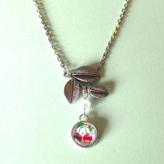 Pair of cherries necklace retro cherries by DoodlepopDesigns, $14.00