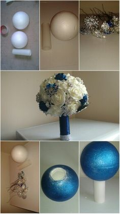 DIY navy blue and ivory bridal brooch bouquet for under £30! Amazon for ribbon and foam flowers, eBay for brooches. You can pick the broches up for 99p each from Hong Kong. Buy a hollow polystyrene ball from your local craft shop and cut a hole in the bottom where the wire will come out and the plastic core will go in. Use flower wire to bind the brooches and flowers so you can begin threading through the ball untill the entire ball in covered. Make sure you can use a plastic hollow core for…