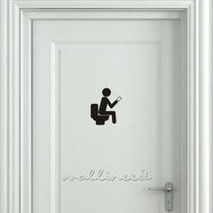 Smartphone Addict Toilet Sign Bathroom Signs Funnydoor Stickerstoilet