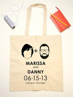 Custom tote bags ..... soooo cute! #wedding #favours #favor