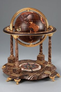 """spherical intarsia"" This globe is in scale of and is made by…"