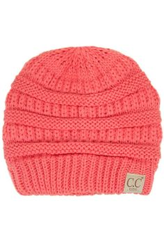 034995f5037 C.C. Beanie Cable Knit Beanie for Kids in Coral YJ847-KIDS-CORAL Cc Beanie