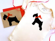 Schnauzer Baby Onesie Organic Infant Clothes Donation to Animal Rescue by BestInShore #Schnauzer