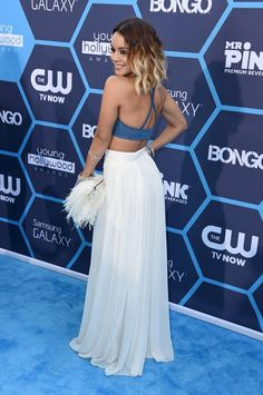 Vanessa Hudgens, Young Hollywood Awards 2014, crop top, maxi skirt, feathered clutch