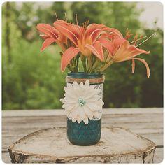 Lace mason jar. Painted mason jar. Wedding vase or candle.Teal blue. Centerpiece.