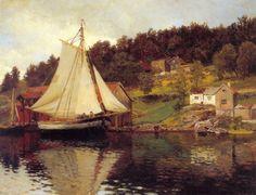 """Hans Gude (Norwegian 1825–1903) [Norwegian romantic national art] """"Fra Sandvika"""", 1873"""
