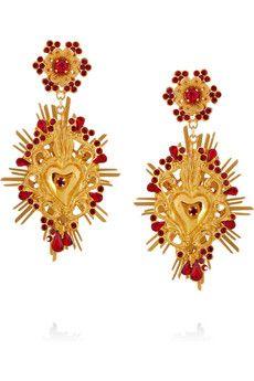 Gold-tone Swarovski crystal clip earrings by Dolce & Gabbana